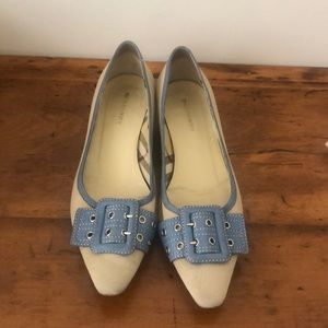 Burberry Tan and Blue Flats Shoes 38.5